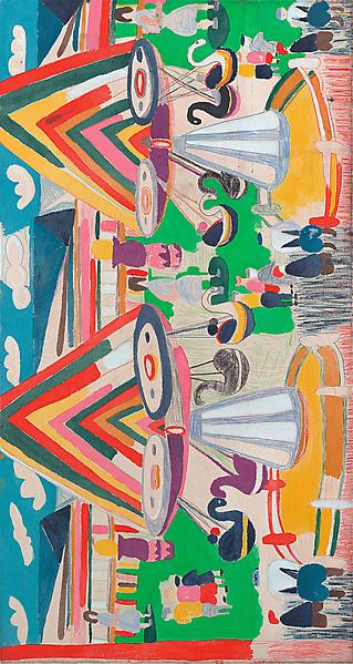 Tal R THE SWANS 2012 Rabbit glue and pigment on canvas 67 3/4 x 36 1/4 inches 172 x 92 centimeters