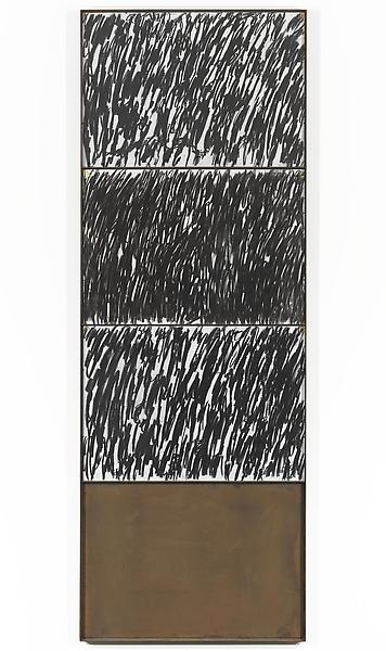Jannis Kounellis 	UNTITLED  1994 	3 charcoal drawings on paper in steel frame 	110 1/4 x 39 3/8 inches 	280 x 100 centimeters