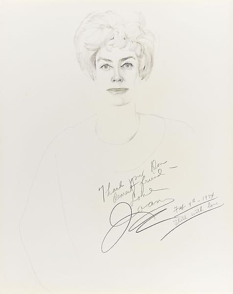 Don Bachardy JOAN CRAWFORD, 9 FEBRUARY 74 1974 Ink on paper 29 x 23 inches 73.7 x 58.4 centimeters