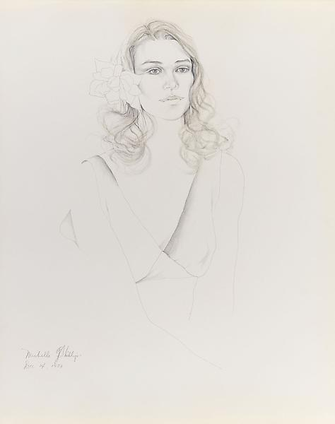 Don Bachardy MICHELLE PHILLIPS, 14 DECEMBER 73 1973 Pencil and ink wash on paper 29 x 23 inches 73.7 x 58.4 centimeters