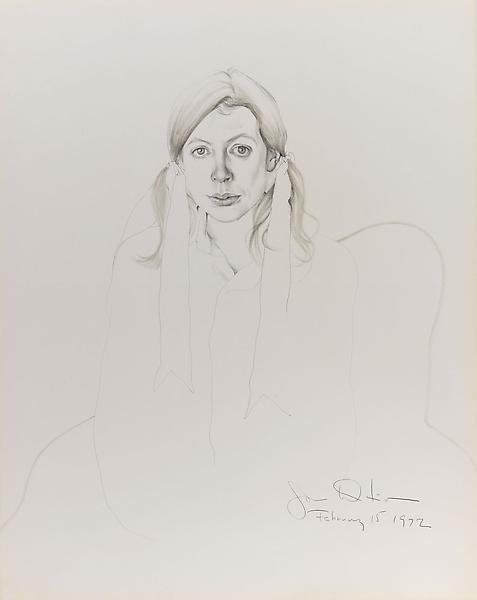 Don Bachardy 	JOAN DIDION, 15 FEBRUARY 72 1972 	Pencil and ink wash on paper 	27 x 23 inches 	68.6 x 58.4 centimeters