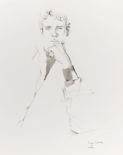 Don Bachardy RYAN O'NEAL, 20 DECEMBER 66 1966 Pencil and ink wash on paper 29 x 23 inches 73.7 x 58.4 centimeters