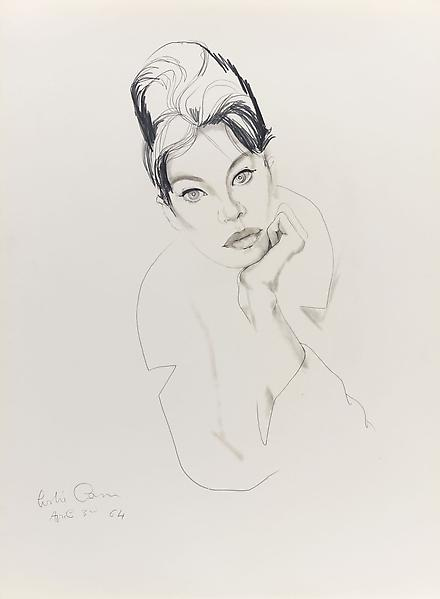 Don Bachardy 	LESLIE CARON, 3 APRIL 64 1964 	Pencil and ink wash on paper 	30 x 22 inches 	76.2 x 55.9 centimeters