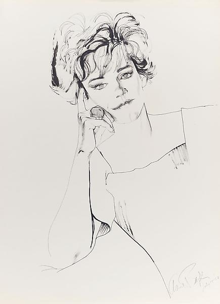 Don Bachardy 	ANN BAXTER, 15 JULY 64 1964 	Ink on paper 	29 x 23 inches 	73.7 x 58.4 centimeters