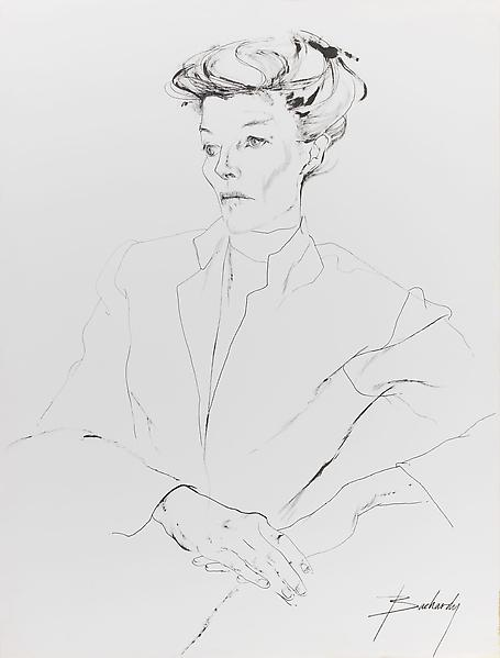 Don Bachardy 	KATHARINE HEPBURN, 5 MARCH 63 1963 	Ink on paper 	30 1/2 x 23 inches 	77.5 x 58.4 centimeters