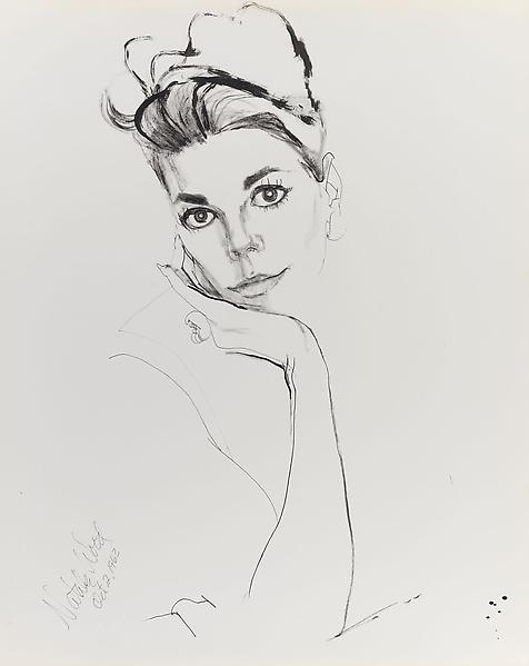 Don Bachardy NATALIE WOOD, 2 OCTOBER 63 1963 Ink on paper 29 x 23 inches 73.7 x 58.4 centimeters