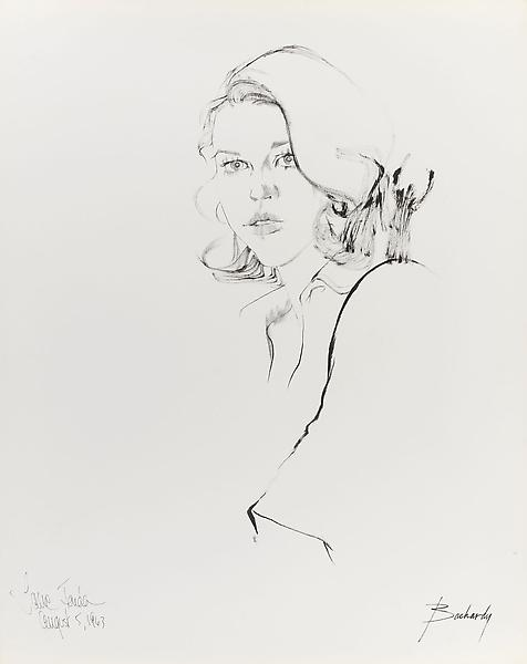 Don Bachardy 	JANE FONDA, 5 AUGUST 63 1963 	Ink on paper 	29 x 23 inches 	73.7 x 58.4 centimeters