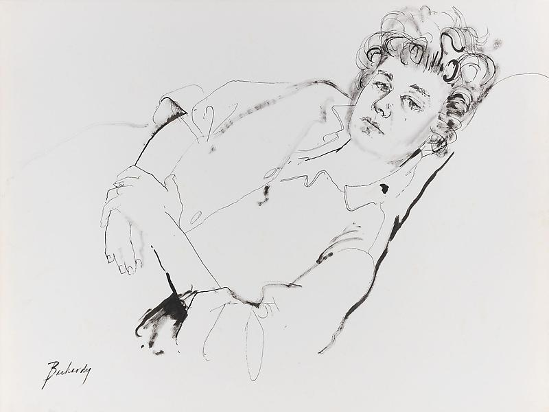 Don Bachardy SHELLEY WINTERS, 30 JANUARY 62 1962 Ink on paper 22 x 29 inches 55.9 x 73.7 centimeters