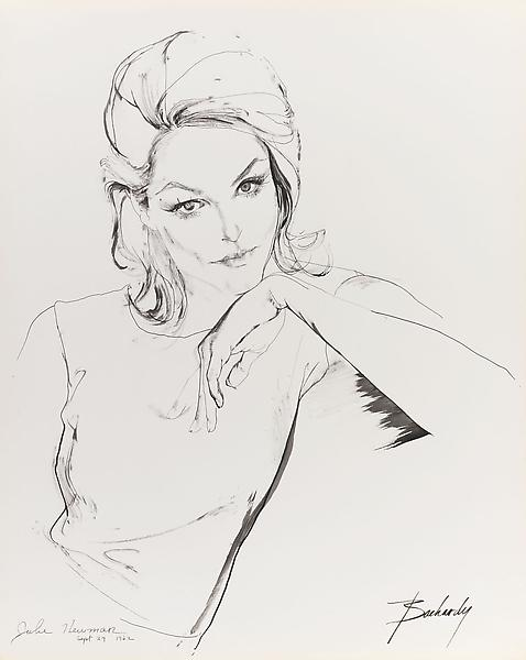 Don Bachardy 	JULIE NEWMAR, 24 SEPTEMBER 62 1962 	Ink on paper 	29 x 23 inches 	73.7 x 58.4 centimeters