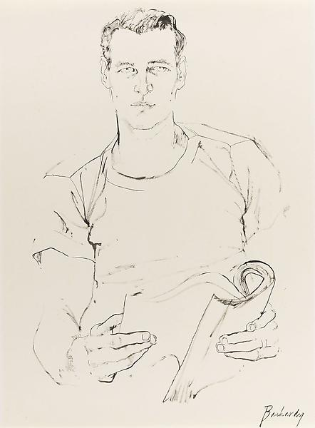Don Bachardy 	PAUL NEWMAN, 5 JANUARY 62 1962 	Ink on paper 	27 x 20 inches 	68.6 x 50.8 centimeters