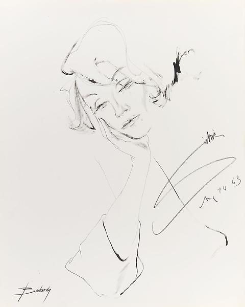 Don Bachardy 	MARLENE DIETRICH, 14 APRIL 63 1963 	Ink on paper 	29 x 23 inches 	73.7 x 58.4 centimeters