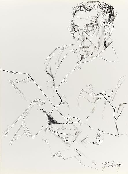 Don Bachardy 	GEORGE CUKOR, 20 MAY 62 1962 	Ink on paper 	30 x 22 inches 	76.2 x 55.9 centimeters