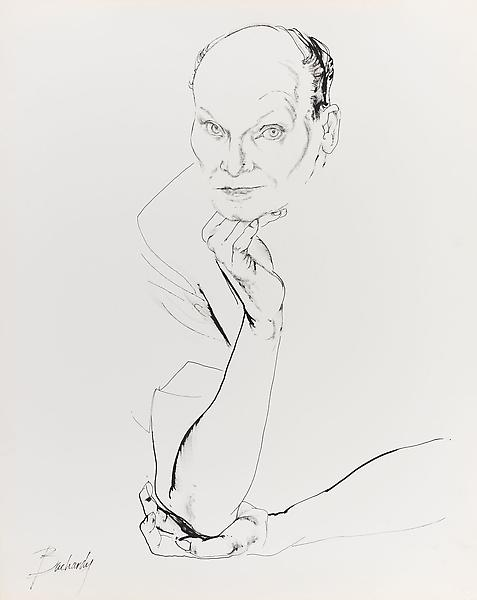 Don Bachardy 	BARBETTE, 11 JUNE 62 1962 	Ink on paper 	29 x 23 inches 	73.7 x 58.4 centimeters