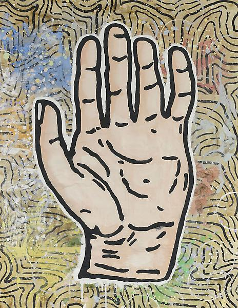 Donald Baechler 	FIVE FINGER DISCOUNT #2  2013 	Gesso, flashe and paper collage on paper 	52 x 40 inches 	132.1 x 101.6 centimeters