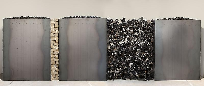 Jannis Kounellis ALL OR NOTHING AT ALL 2013 Steel, coal, stones, and sewing machines Dimensions variable