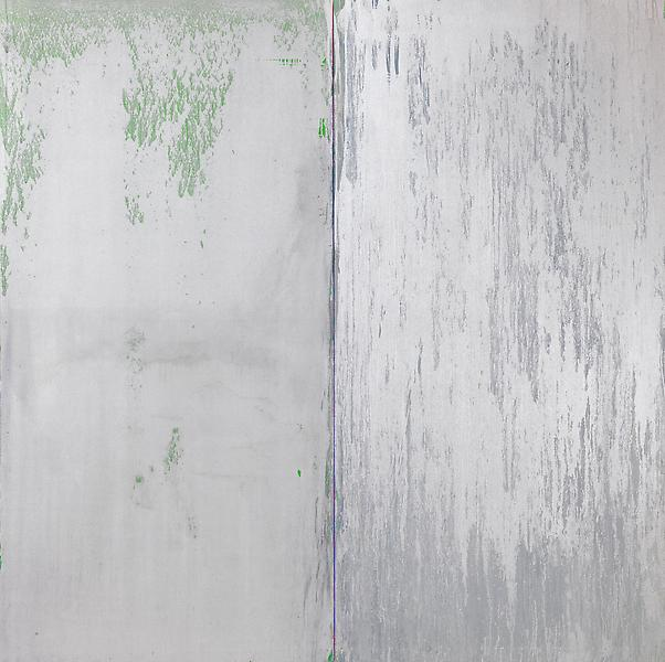 Pat Steir SILVER AND SILVER 2013 Oil on canvas 84 x 84 inches 213.4 x 213.4 centimeters