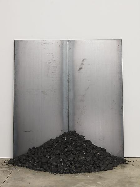 Jannis Kounellis 	UNTITLED  2013 	Steel and coal 	78 3/4 x 70 7/8 x 10 3/4 inches 	200 x 180 x 27.3 centimeters