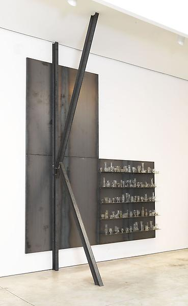 Jannis Kounellis UNTITLED 2013 Steel and glass 15 feet 10 inches x 11 feet 10 inches x 71 inches 482.6 x 360.7 x 180.3 centimeters 190 x 142 x 71 inches
