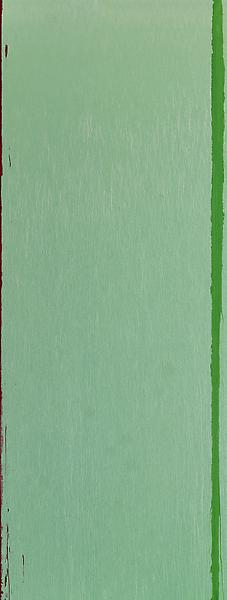 Pat Steir 	GREEN 2013 	Oil on canvas 	132 x 50 inches 	335.3 x 127 centimeters