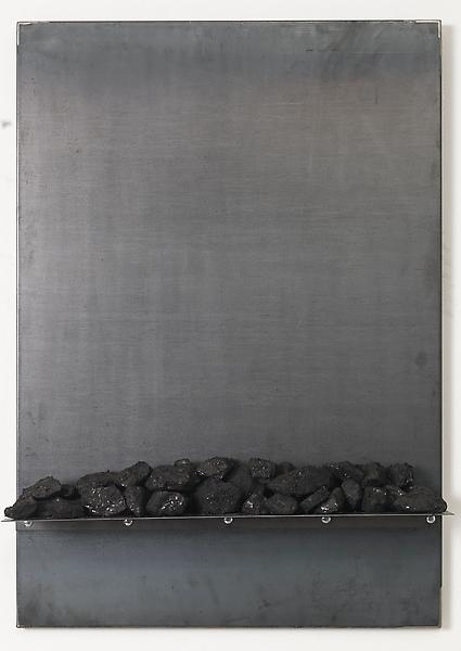 Jannis Kounellis UNTITLED 2013 Steel and coal 39 1/4 x 27 1/2 x 6 1/4 inches 99.7 x 69.9 x 15.9 centimeters