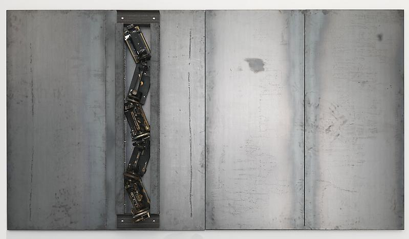 Jannis Kounellis UNTITLED 2013 Steel and sewing machines 78 3/4 inches x 11 feet 9 1/4 inches x 12 1/2 inches 200 x 360 x 31.8 centimeters 78 3/4 x 141 3/4 x 12 1/2 inches