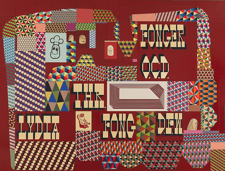 Barry McGee 	UNTITLED 2013 	Acrylic on wood panel; 102 elements 	136 1/2 x 180 inches 	346.7 x 457.2 centimeters