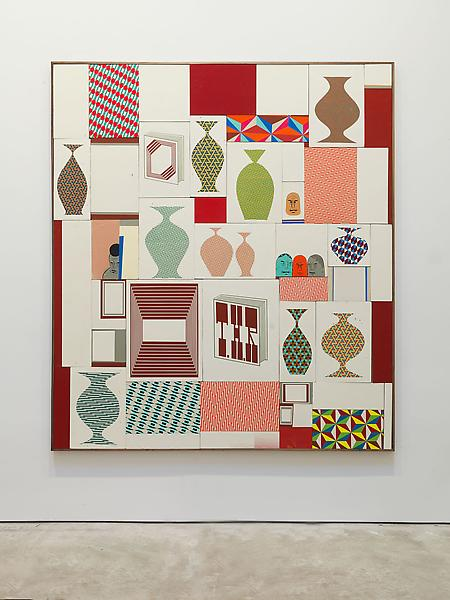 Barry McGee 	UNTITLED 2013 	Acrylic on wood panel; 50 elements 	91 x 84 inches (overall) 	231.1 x 213.4 centimeters (overall)