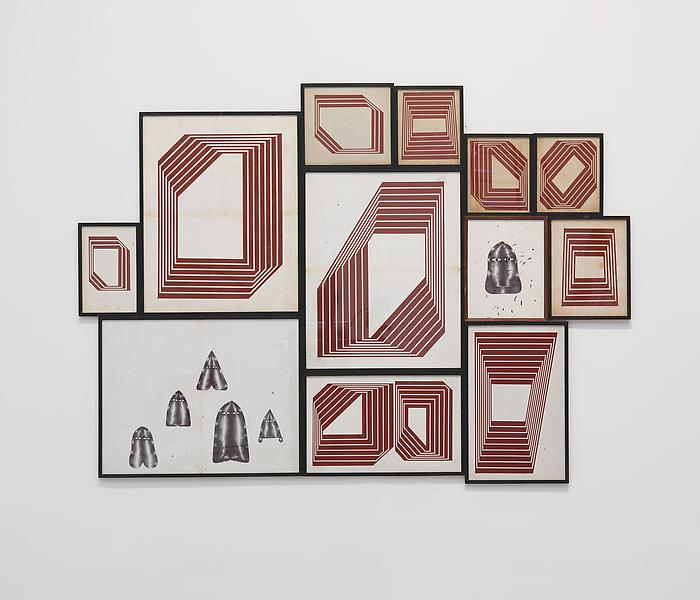 Barry McGee 	UNTITLED 2013 	Acrylic on paper; 12 elements 	46 x 77 3/4 inches (overall) 	116.8 x 197.5 centimeters (overall)