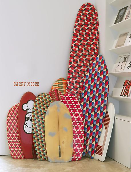 Barry McGee 	UNTITLED 2013 	Fiberglass surfboards; 9 elements 	Dimensions variable