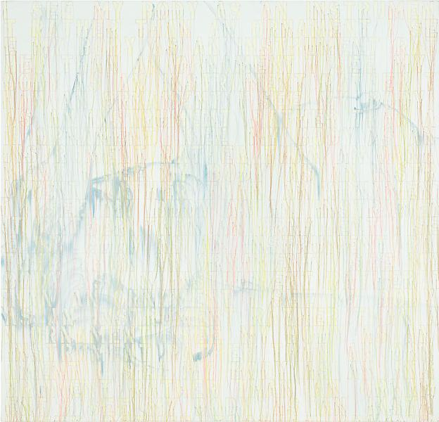 Ghada Amer 	MANDY 2013 	Acrylic, embroidery and gel medium on canvas 	48 x 50 inches 	121.9 x 127 centimeters