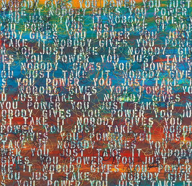 Ghada Amer 	SUNSET WITH WORDS - RFGA 2013 	Acrylic, embroidery and gel medium on canvas 	48 x 50 inches 	121.9 x 127 centimeters