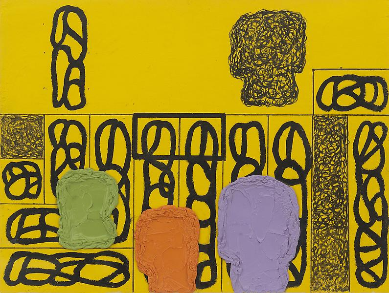 Jonathan Lasker 	UNTITLED  2008 	Oil and pigment pen on paper 	6 x 8 inches 	15.2 x 20.3 centimeters