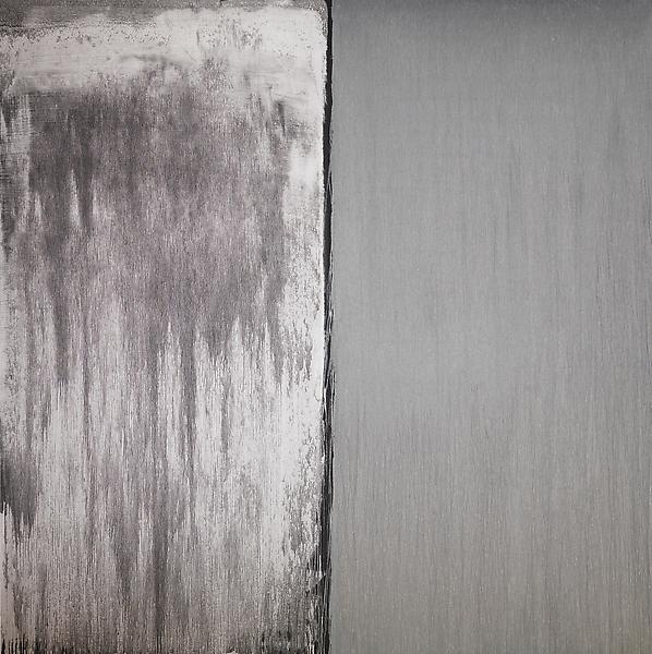 Pat Steir SILVER AND WHITE 2013 Oil on canvas 132 x 132 inches 335.3 x 335.3 centimeters