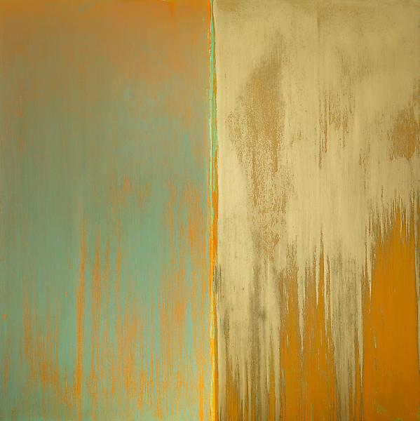 Pat Steir 	GREEN, ORANGE AND MICA 2013 	Oil on canvas 	132 x 132 inches 	335.3 x 335.3 centimeters
