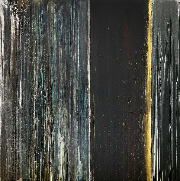 Pat Steir BLACK, BLUE, SILVER AND GOLD 2013 Oil on canvas 132 x 132 inches 335.3 x 335.3 centimeters