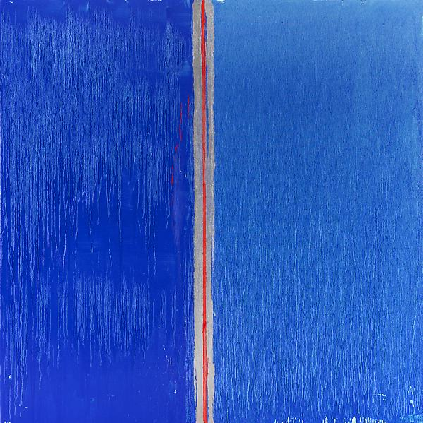 Pat Steir BLUE AND BLUE 2013 Oil on canvas 132 x 132 inches 335.3 x 335.3 centimeters