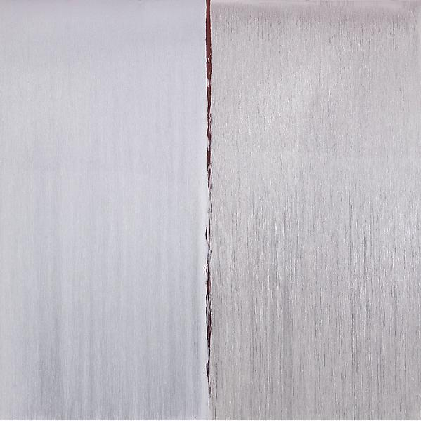 Pat Steir 	TWO WHITES OVER ANTIQUE RED OVER CADMIUM RED 2013 	Oil on canvas 	132 x 132 inches 	335.3 x 335.3 centimeters