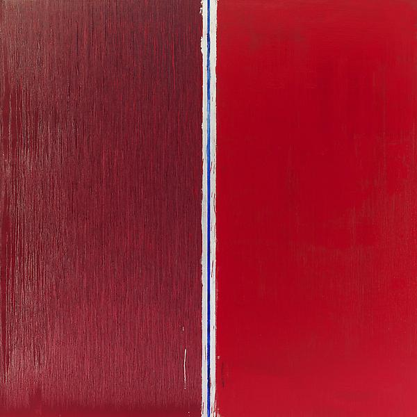 Pat Steir 	TWO REDS 2013 	Oil on canvas 	84 x 84 inches 	213.4 x 213.4 centimeters