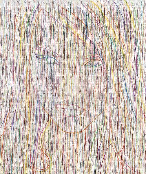Ghada Amer 	THE RAINBOW GIRL 2014 	Acrylic, embroidery and gel medium on canvas 	70 x 59 inches 	177.8 x 149.9 centimeters