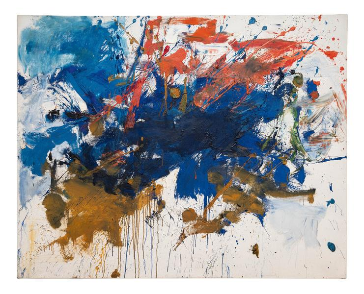Joan Mitchell 	UNTITLED (BLUE MICHIGAN)  1961 	Oil on canvas 	50 7/8 x 63 3/4 inches 	129.2 x 161.9 centimeters 	©Estate of Joan Mitchell