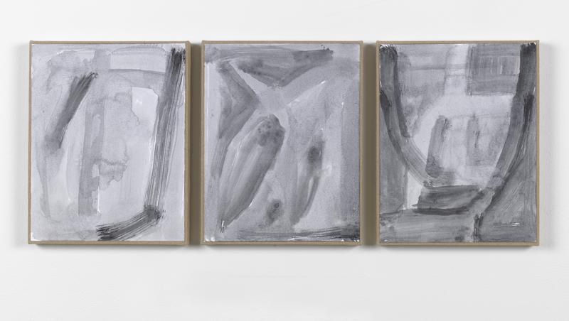 Jack Pierson Hmm 2014 Watercolor and graphite on paper mounted on linen; 3 elements 14 1/2 x 37 x 3/4 inches overall 36.8 x 94 x 1.9 centimeters overall