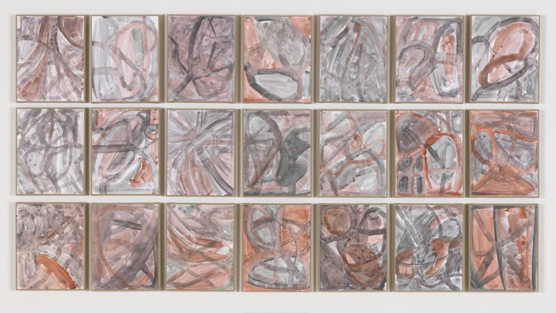 Jack Pierson Essays 2014 Watercolor on paper mounted on linen; 21 elements 45 1/2 x 86 x 3/4 inches overall 115.6 x 218.4 x 1.9 centimeters overall