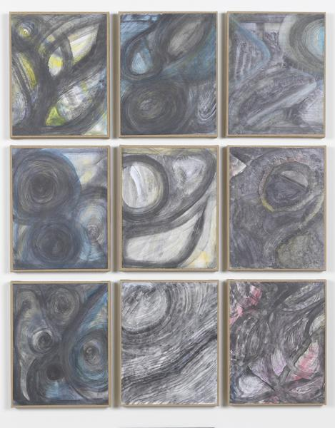 Jack Pierson What about the moon 2014-15 Watercolor on paper mounted on linen; 9 elements 45 1/2 x 36 1/2 x 3/4 inches overall 115.6 x 92.7 x 1.9 centimeters overall