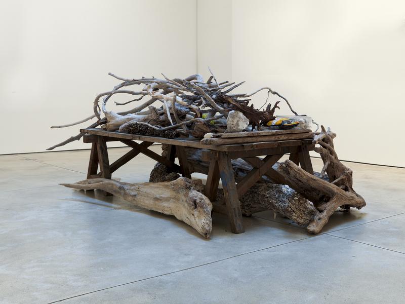 Jack Pierson UNTITLED 2015 Seashells, styrofoam and driftwood on wood 40 x 99 1/2 x 54 inches 101.6 x 252.7 x 137.2 centimeters