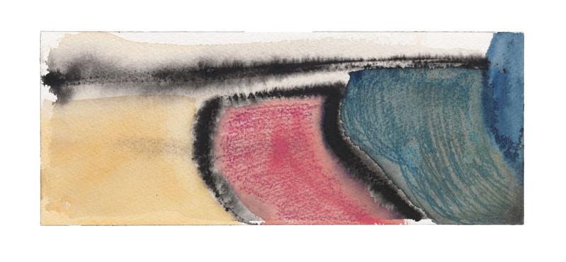 Louise Fishman 	UNTITLED  2013 	Watercolor and pastel on paper 	4 x 9 7/8 inches 	10.2 x 25.1 centimeters