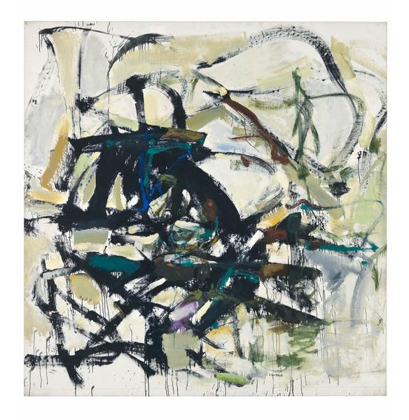 Joan Mitchell 	SLATE  1959 	Oil on canvas 	77 x 74 inches 	195.6 x 188 centimeters 	©Estate of Joan Mitchell