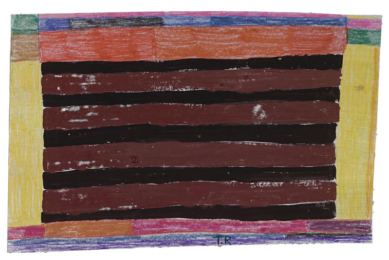 Tal R 	CURTAIN  2016 	Crayon and gouache on painted paper 	9 1/2 x 14 1/2 inches 	24.1 x 36.8 centimeters