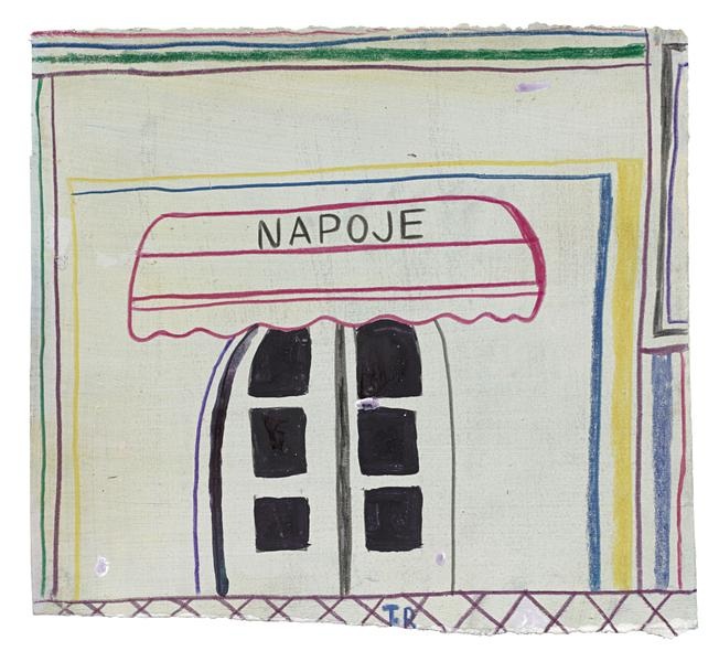 Tal R 	NAPOJE  2015 	Crayon and gouache on painted paper 	10 1/4 x 11 1/2 inches 	26 x 29.2 centimeters
