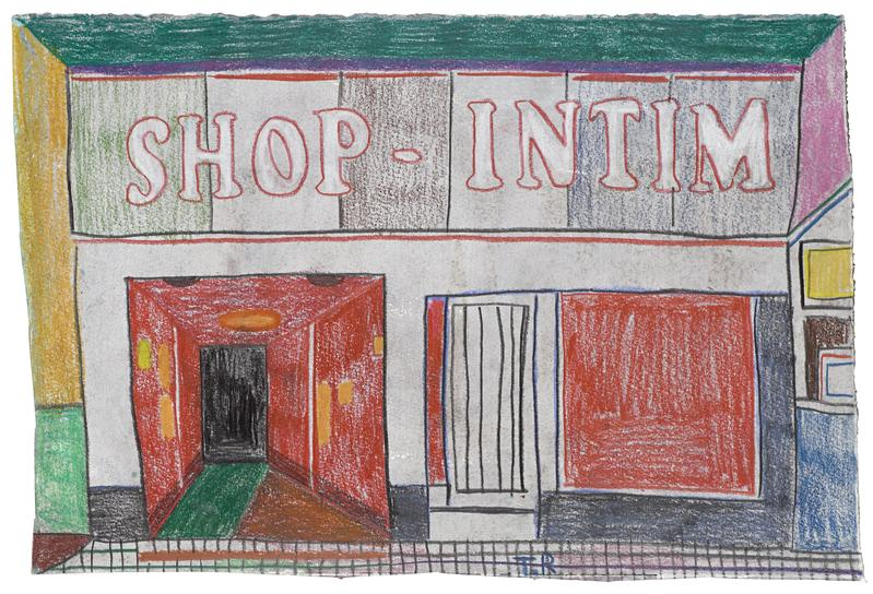 Tal R 	SHOP INTIM  2015 	Crayon and gouache on painted paper 	8 1/4 x 11 3/4 inches 	21 x 29.8 centimeters