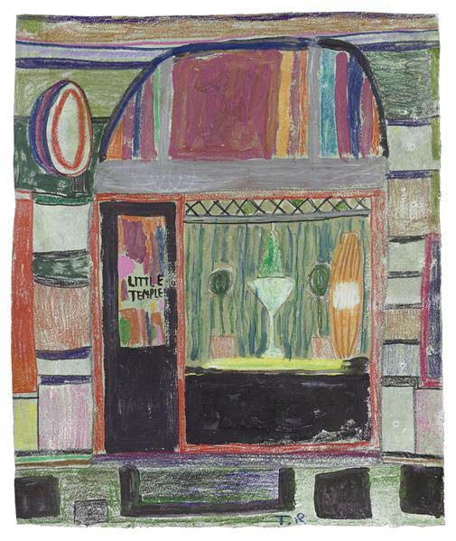 Tal R 	LITTLE TEMPLE  2016 	Crayon and gouache on painted paper 	13 3/4 x 11 1/2 inches 	34.9 x 29.2 centimeters